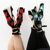 New Women's Flowers Embroidered Sandels Sexy Square Heel Cross-Strap Super High Heeled 11cm Pumps High Heels Size 35-40 K465