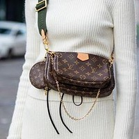 Louis Vuitton LV Three-piece Classic Plaid Letters Coin Purse Clutch Bag Fashion Ladies One Shoulder Messenger Bag