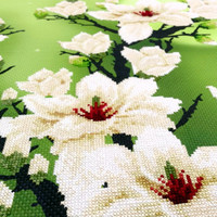 Forever spring flower White saucer magnolia Wall hanging Completed cross stitch Ready for hanging Free shipping