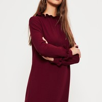 Missguided - Burgundy Crepe Victorian Style Shift Dress