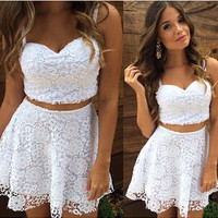 2018 A Line Summer Women 2 Two Piece Lace Dress White Spaghetti Strap V Neck Casual Mini Vestido Club Party Dress Plus Size