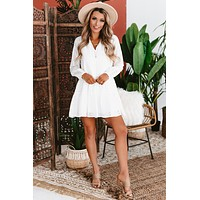 Joyful Heart Long Sleeve Eyelet Dress (White)