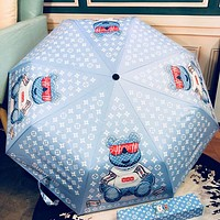 LV & Supreme Summer Fashion New Monogram Bear Letter Print Umbrella