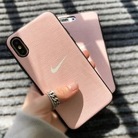 NIKE New fashion hook print couple protective cover phone case