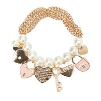 Pearl & Chain Charm Bracelet by Charlotte Russe - Lt Pink
