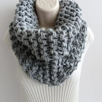 Circle Scarf Oversized Cowl. Grey Chunky Knit Cowl Scarf. Highlands Cowl in Grey. Cowl scarves- Fall Fashion Accessories. Choose your color.