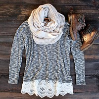 All Lace on Me Sweater Tunic in Grey