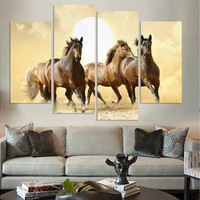 4Panel Modern Horse Canvas Painting 4 Panel Set Abstract Canvas Art Wall Hangings Restaurant Decoration Pictures