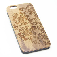 Retro Floral Real Wood Engraved iPhone 6s Case iPhone 6 Case iPhone 6s 6 Plus Cover Natural Wooden iPhone 5s 5 Case Samsung Galaxy S6 S5 Case D100