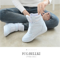 2015 Spring And Autumn Fashion High-top Boots Heels Woman Hidden  Breathable Women Improve Sports Shoes Wedge Shoes