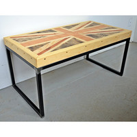 Union Jack Coffee Table, Rustic Reclaimed Pallet Wood, With Steel Frame British Design, Mid Century Modern