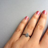 Black oxidized silver ring, thin simple hammered sterling silver band ring with a drop, stacking ring