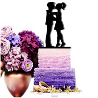 Cake Toppers Groom and Bride Heart Kissing Wedding Cake Toppers