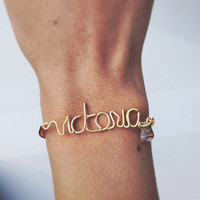 Custom Name Bracelet With Wire and Chain, Dainty, Simple and Handmade (9- letters)