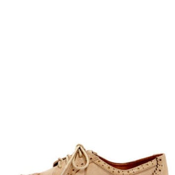 Good Choice East Village Tan Lace-Up Oxford Flats