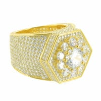 Hexagon Shaped Mens Iced Out Ring