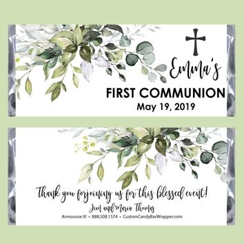 Greenery First Communion Candy Bar Wrapper