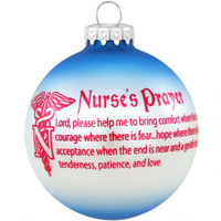 Nurse's Prayer Round Glass Ornament
