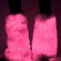 Pink Electric Styles LED Light Up Fluffies : Glowing Fluffy Leg Warmers