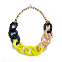 Big Chain Statement Necklace in Black Yellow Nude - Handmade Oversized Chain Link Necklace