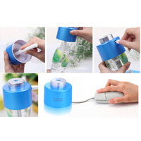 USB Portable ABS Water Bottle Cap Humidifier DC 5V Office Air Diffuser Aroma Mist Maker 2pcs Absorbent Filter Sticks Blue