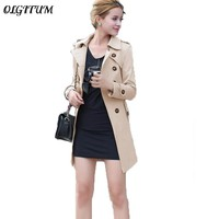 2017 spring autumn new women trench coat long section slim thin trench coat with sashes women loose casual windcoat