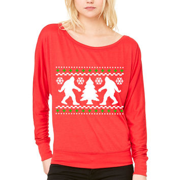 Ugly Christmas Sweater WOMEN'S FLOWY LONG SLEEVE OFF SHOULDER TEE