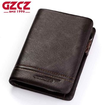 GZCZ Genuine Leather Men Wallets Purse Money Bag Fashion Male Wallet Photo Card Holder Coin Purse Wallet Men Zipper Poucht