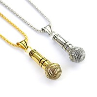 Cool Music Stereoscopic Microphone Pendant Necklace Jewelry Gold /Silver Color Alloy Men's / Women's Hip Hop Jewelry
