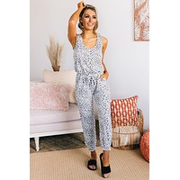 Stare You Down Leopard Print Jumpsuit (Ivory/Black)
