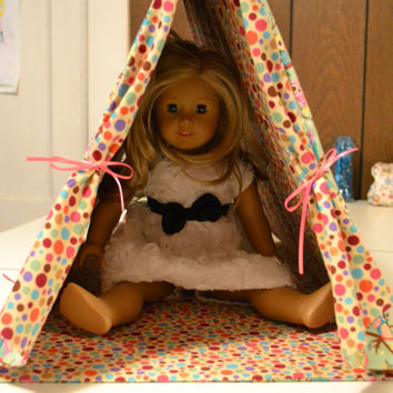"""American Girl and 18"""" Doll Tent and matching Pillow"""