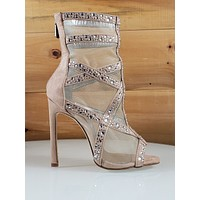 CR June Nude Mesh Rhinestone Open Toe 4.5 High Heel Boot Shoes