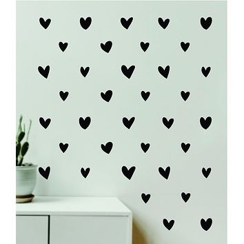 Heart Pattern Set of 100 Wall Decal Home Decor Bedroom Room Quote Vinyl Sticker Teen School Baby Kids Nursery Playroom Boy Girl Love Cute