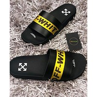OFF WHITE C/O VIRGIL ABLOH 19SS Arrow letters yellow slippers-1