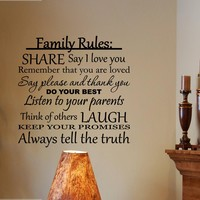 Vinylsay #0259 - Family Rules: Share, say I love you, do your best... Vinyl wall decals quotes...:Amazon:Home & Kitchen