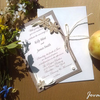 Wedding invitations with quilling flowers, Retro, Raffia