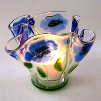 Candle Holder/Votive In Fused Glass Poppies in Blues by CDChilds
