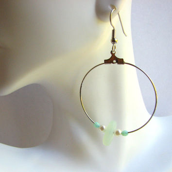 Seafoam Sea Glass Hoop Dangle Earrings