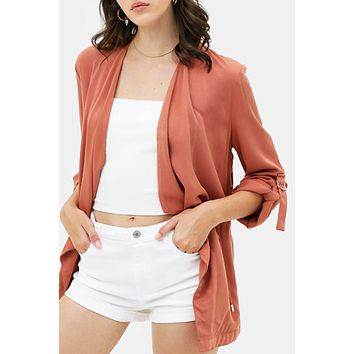 Draped Collar Open Front Twill Jacket