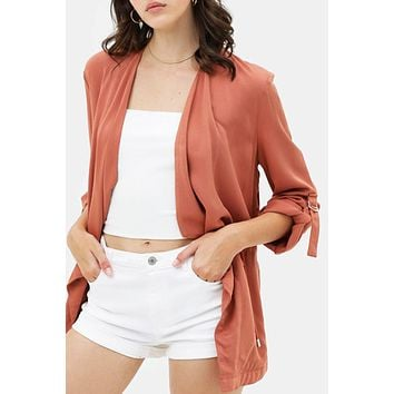 Casual Draped Collar Long Sleeve Open Front Twill Jacket