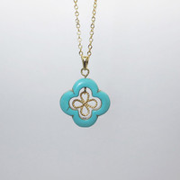 Necklace-Turquoise Clover Necklace / Gold Clover Necklace