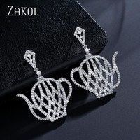 ZAKOL Fashion Delicate Big Teapot Drop Earrings With Tiny Cubic Zirconia Micro Paved for Women Wedding Dress Jewellry FSEP2129