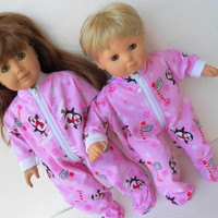 "American Girl Bitty Baby 15"" Doll Clothes Light Pink Penguin Christmas Holiday Zip Up Feetie Flannel Pajamas Pjs Sleeper Jammies"
