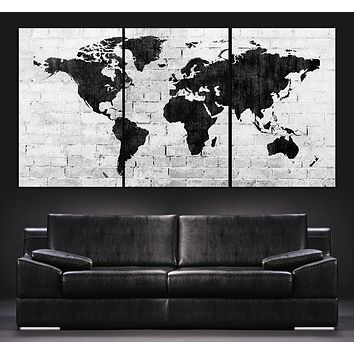 Large Wall Art World Map Canvas Print Contemporary 3 Panel Triptych Black and White Large Wall