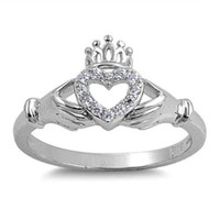 Sterling Silver CZ Unique Irish Claddagh Ring Size 5-10