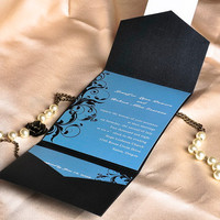 Tri fold wedding invitation cards with floral design – blue and black pocket wedding invitations with free RSVP and envelope EWPI014
