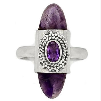Amethyst Sterling Silver Double Stone Ring