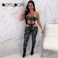 BerryPark 2019 Women Camouflage Lace Up Crop Top + Pants 2 PCS Set Tracksuit Street Sport Suit Running Workout Outdoor in Summer