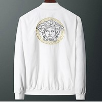 Versace New fashion embroidery human head couple long sleeve coat jacket White