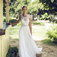 Lace Wedding Dress Lace Boho Wedding Dress Lace Boho Wedding Dress Lace and Chiffon Wedding Dress
